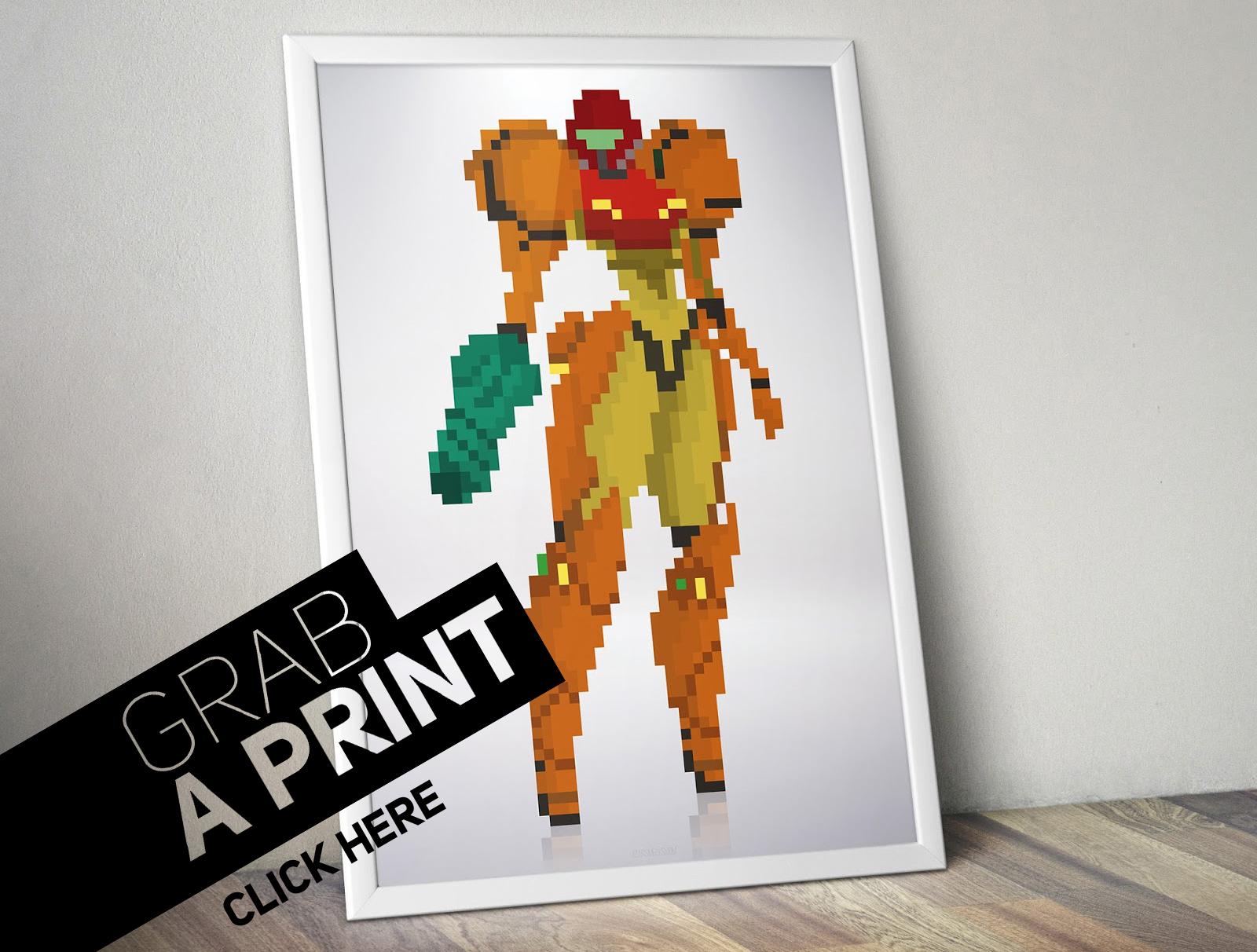 Poster-Fram-Metroid-Samus-Aran-nintendo-pixel-art-8bit
