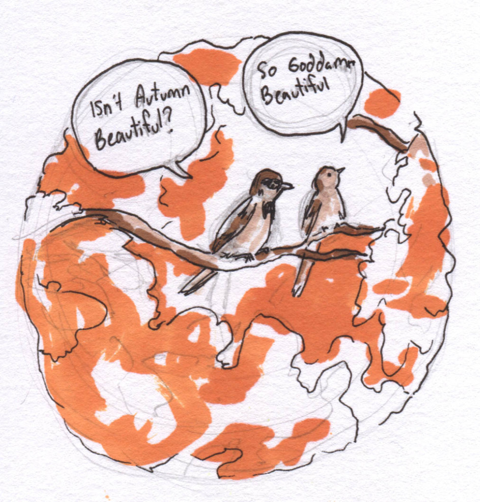 Autumn Sparrows drawing illustration becky hunt beautiful