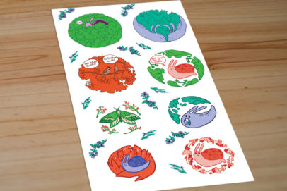 Izak-Smells-comic-photographs-book-earth-2-don't-squish-me-I'm-organic-(45)-Stickers