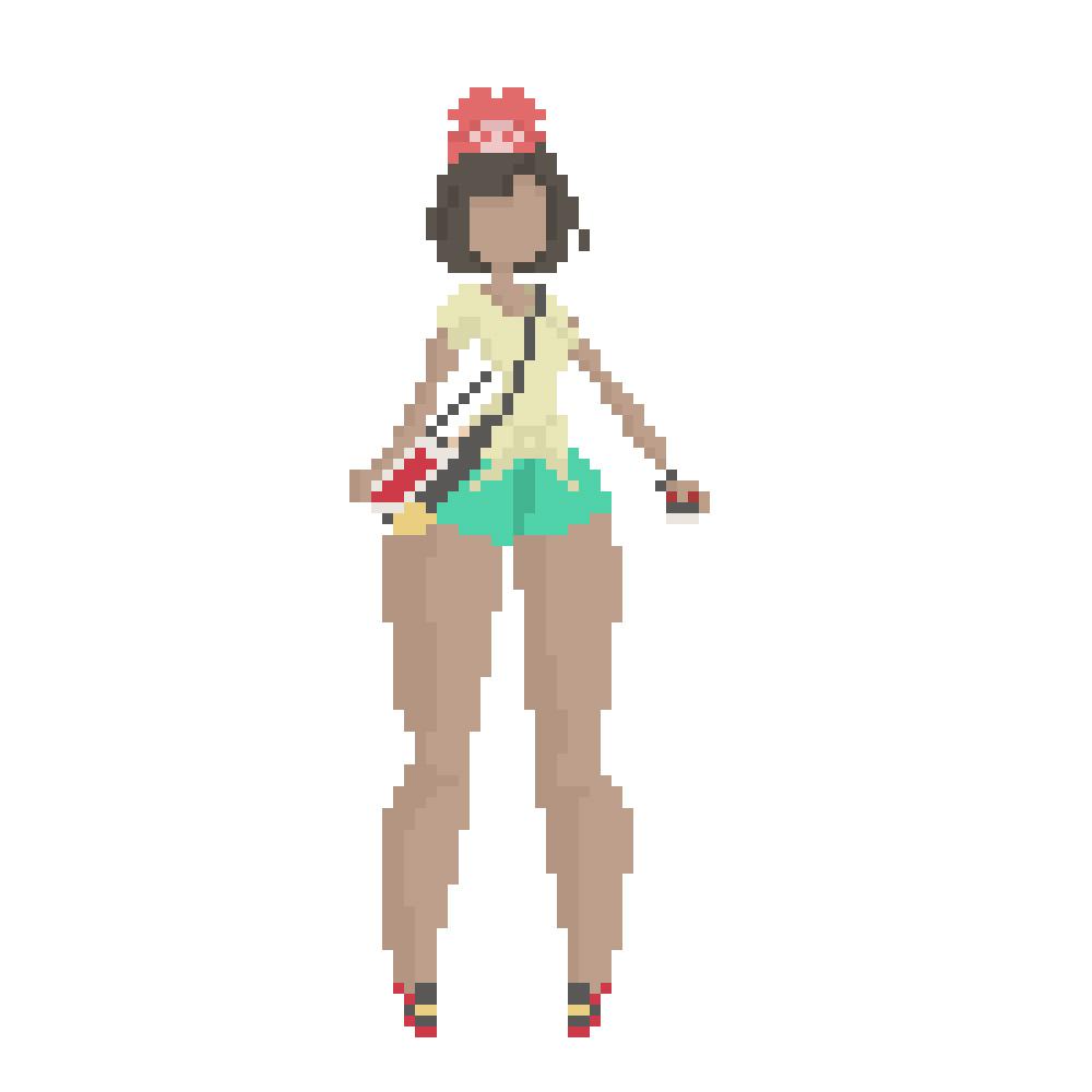 8bit pixel art sun and moon girl